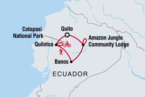 Ecuador: Raft, Hike & Bike - Tour Map