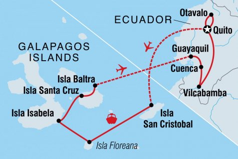 Highlights of Ecuador - Tour Map