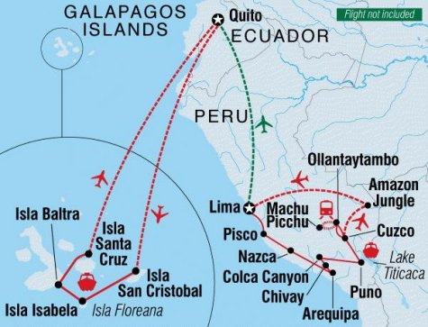 Peru and Galapagos Explorer - Tour Map