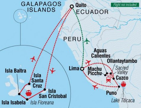Best of Peru & Galapagos - Tour Map