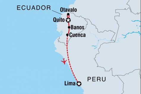 Essential Quito to Lima - Tour Map