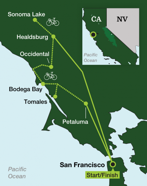California Wine Country – Sonoma Cycling - Tour Map