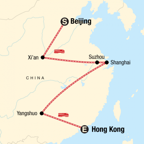 Beijing to Hong Kong on a Shoestring - Tour Map