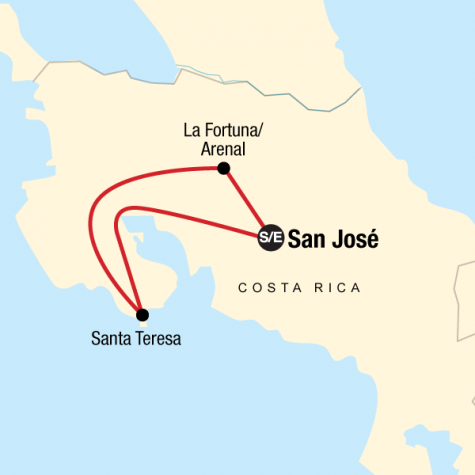 Costa Rica on a Shoestring - Tour Map