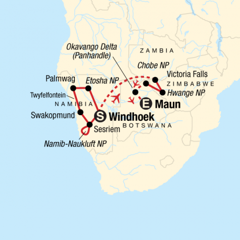 Wildlife and Wonders of Southern Africa - Tour Map