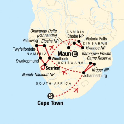Ultimate Southern Africa Journey - Tour Map