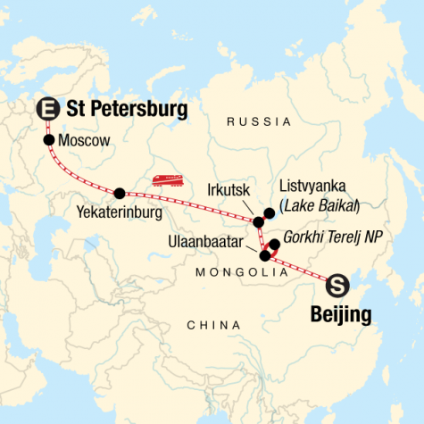 Trans-Mongolian Express - Tour Map