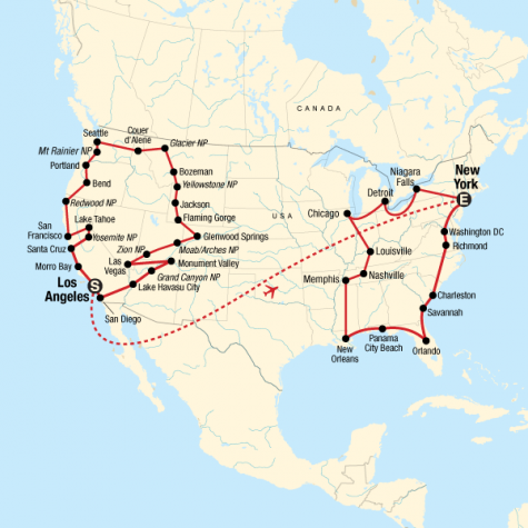 The Great American Road Trip – LA to New York - Tour Map