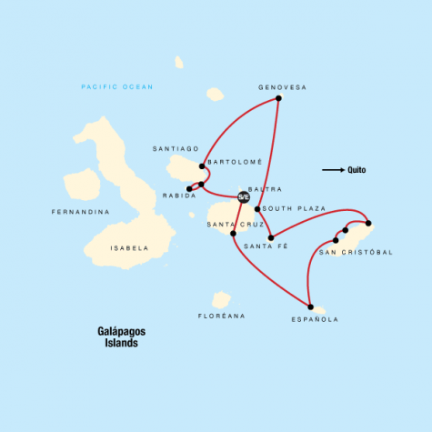 Galápagos – Central and Eastern Islands aboard the Reina Silvia Voyager (Cruise Only) - Tour Map