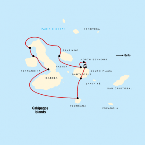 Galápagos – Western and Central Islands aboard the Reina Silvia Voyager (Cruise Only) - Tour Map