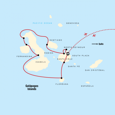 Galápagos – Western and Central Islands aboard the Reina Silvia Voyager - Tour Map