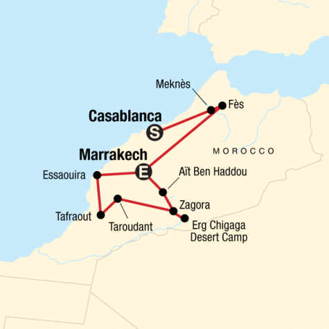 Morocco: Sahara & Beyond - Tour Map
