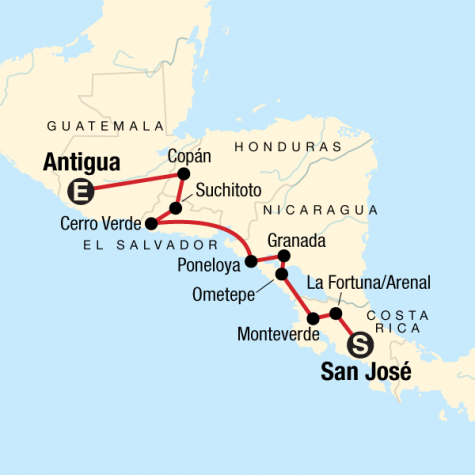 Back Roads of Central America: Craters & Community Guesthouses - Tour Map